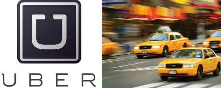 Uber Logo and Cabs