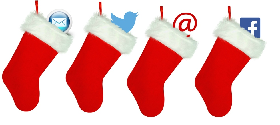 Image of four stockings with a different social media or information technology related symbol placed inside of them