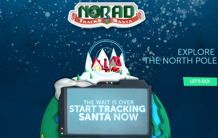 Image of the homepage of NORAD's Santa tracking website