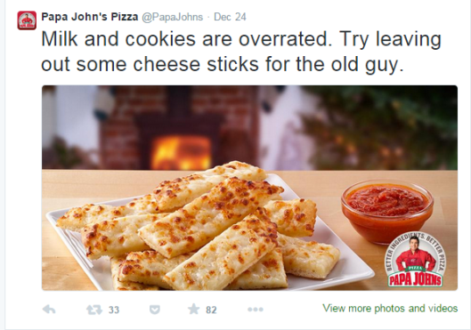 Image of a tweet shared by Papa John's the night before Christmas