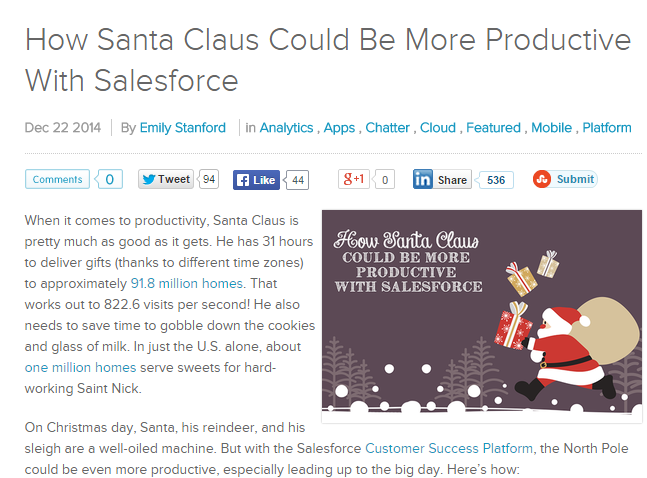 Screenshot of a Christmas themed post from Salesforce's blog