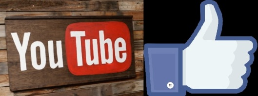 "Image of a YouTube sign and a Facebook ""Like"" symbol"