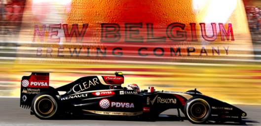 An image featuring both New Belgium Brewing Company and F1 Lotus Team in terms of the products they develop (beer and motor vehicles respectively)