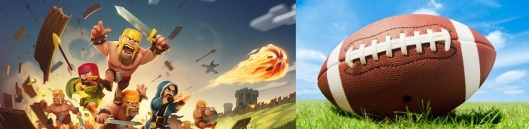 Image of Clash of Clans characters charging towards an image of a football.