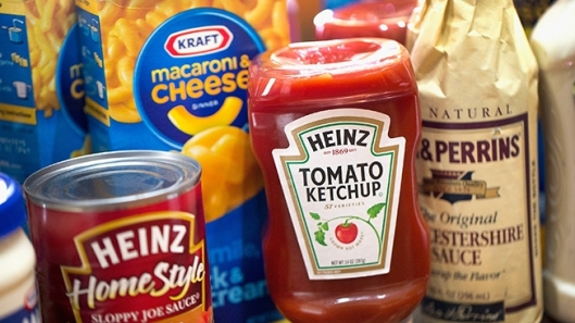 An array of Kraft and Heinz Products, such as Kraft Macaroni & Cheese and Heinz Tomato Ketchup.