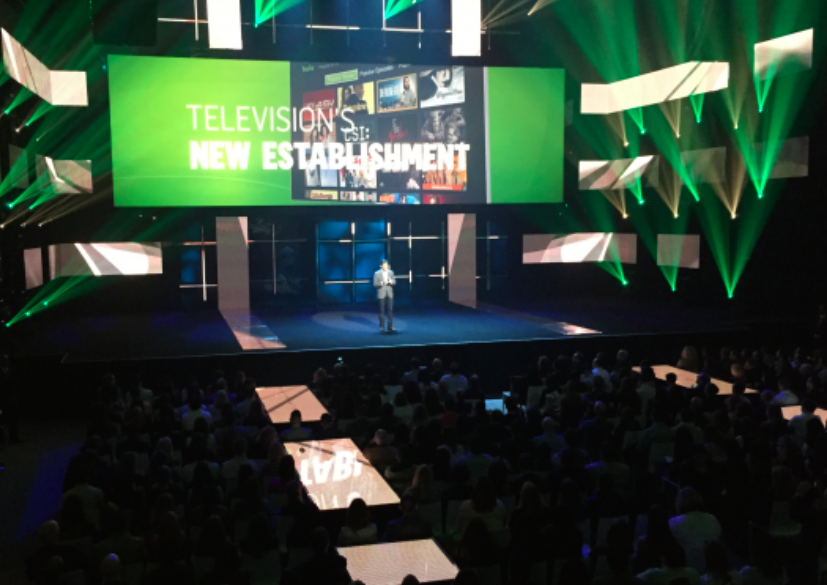 Hulu CEO Mike Hopkins stands on stage in front of 2,000 attendees at its NewFront presentation last week.