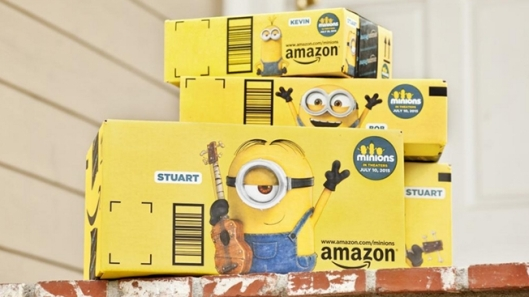 yellow Amazon shipping box featuring Minion characters.
