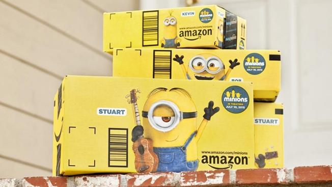yellow Amazon shipping box featuring Minion characters.