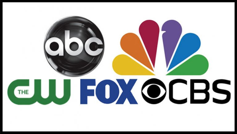 An image containing the logos of ABC, NBC, The CW, FOX, and CBS.