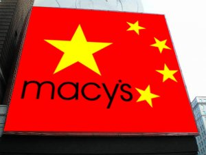 A red and yellow Chinese flag featuring Macy's brand.