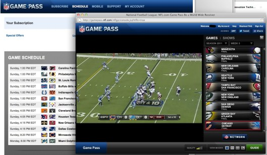 A screenshot of NFL Game pass, which shows the current game schedules, a live game being played, and live scores.