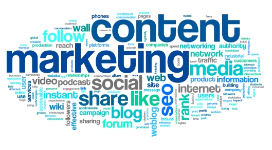 Content marketing concept in word tag cloud on white background.