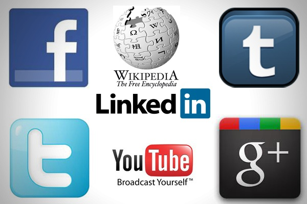 Logos of popular social media sites including Facebook, Twitter, Youtube, Linkedin, Wikipedia, and Google plus.