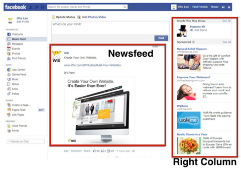A screen shot of facebook's news feed featuring advertisments.