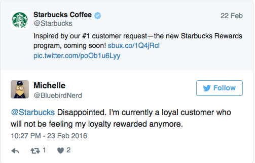 Tweet from Starbucks introducing new Starbucks Rewards Program and response by customer who is dissapointed in the new program.